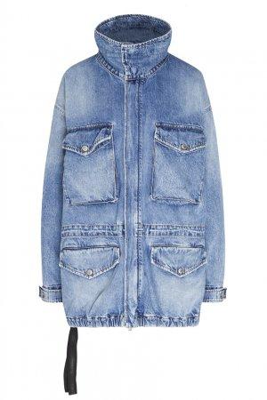 Голубая джинсовая куртка оверсайз с накладными карманами Unravel Project. Цвет: голубой