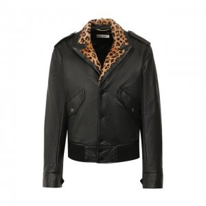 Кожаная куртка Saint Laurent. Цвет: чёрный