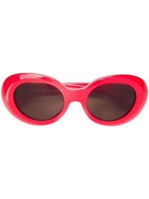 Солнцезащитные очки в овальной оправе Mustang Acne Studios. Цвет: красный