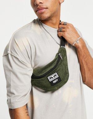 Вельветовая сумка-кошелек на пояс цвета хаки -Зеленый цвет Obey