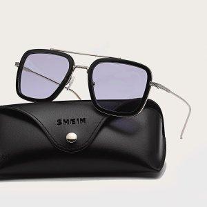 Мужские солнцезащитные очки в квадратной оправе SHEIN. Цвет: лиловый фиолетовый
