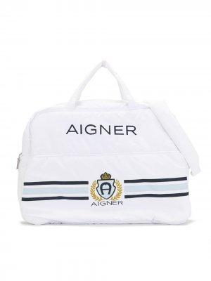 Пеленальная сумка с принтом Aigner Kids. Цвет: белый