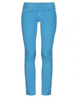 Джинсовые брюки HTC. Цвет: бирюзовый