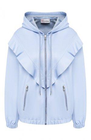 Кожаная куртка REDVALENTINO. Цвет: светло-голубой