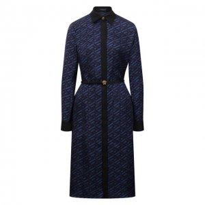 Шелковое платье Versace. Цвет: синий