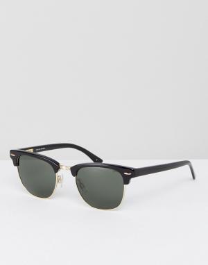Черные солнцезащитные очки в стиле ретро Levis. Цвет: черный