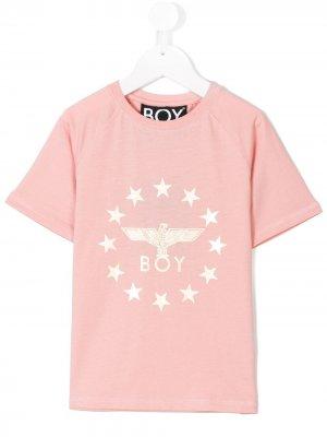 Футболка с принтом логотипа Boy London Kids. Цвет: розовый
