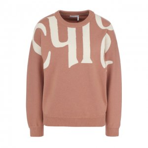 Пуловер из смеси хлопка и шерсти с круглым вырезом Chloé. Цвет: бежевый