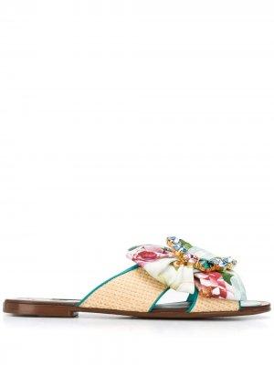 Декорированные сандалии Dolce & Gabbana. Цвет: синий