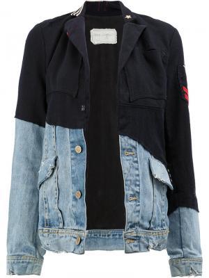 Джинсовая куртка со вставками Greg Lauren. Цвет: синий