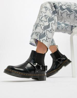 Черные кожаные ботинки челси на массивной подошве с ремешками Wincox-Черный Dr Martens