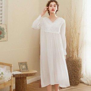 Кружевная ночная сорочка с вышивкой SHEIN. Цвет: белый