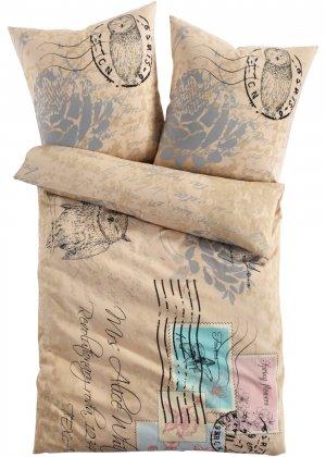 Постельное белье в стиле почтовой открытки bonprix. Цвет: бежевый