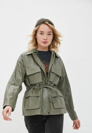 Куртка кожаная B.Style. Цвет: хаки