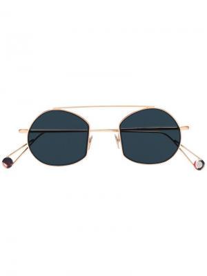 Солнцезащитные очки-авиаторы в круглой оправе Ahlem. Цвет: металлик