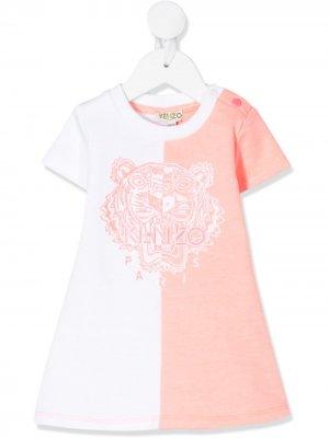 Двухцветное платье-футболка Kenzo Kids. Цвет: розовый