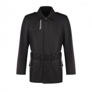 Кожаная куртка на пуговицах с поясом Bottega Veneta. Цвет: чёрный