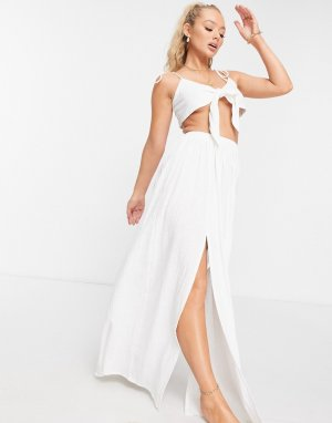Фактурная пляжная юбка макси белого цвета с разрезами спереди -Белый ASOS DESIGN