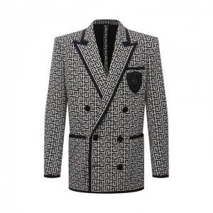 Хлопковый пиджак Balmain. Цвет: бежевый