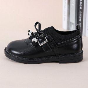 Для девочек Туфли мэри джейн SHEIN. Цвет: чёрный