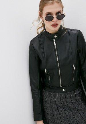 Куртка кожаная Michael Kors. Цвет: черный