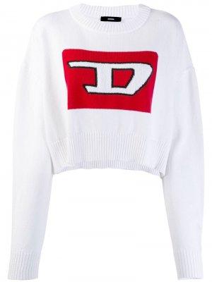Укороченный пуловер с 3D узором вязки интарсия Diesel. Цвет: белый