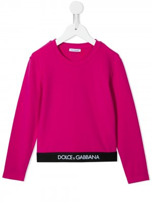 Футболка с длинными рукавами и логотипом Dolce & Gabbana Kids. Цвет: розовый