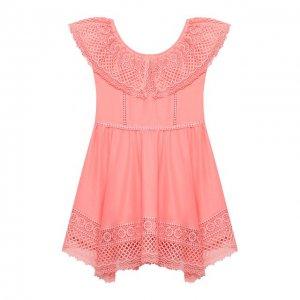 Хлопковое платье Charo Ruiz Ibiza. Цвет: оранжевый