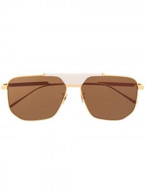 Солнцезащитные очки BV1036S в шестиугольной оправе Bottega Veneta Eyewear. Цвет: золотистый