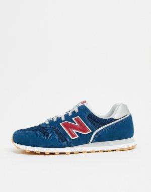 Синие кроссовки с красными вставками 373-Синий New Balance