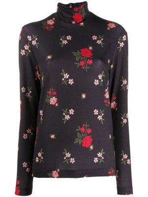 Рубашка-поло с цветочным принтом Simone Rocha. Цвет: черный