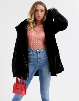 Куртка с капюшоном, искусственным мехом и шнурком на талии -Черный Jayley