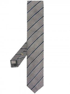 Жаккардовый галстук в полоску Canali. Цвет: серый
