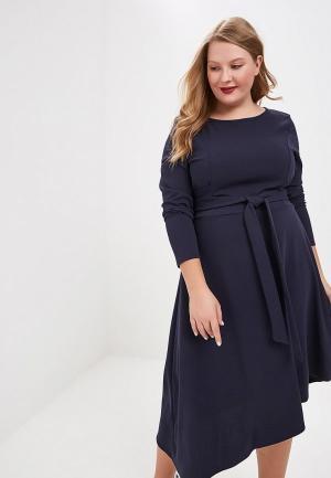 Платье Lost Ink Plus DRESS WITH CROSS TIE WAIST. Цвет: синий