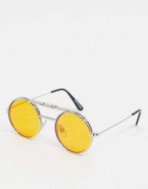 Серебристые солнцезащитные очки в круглой подъемной оправе с оранжевыми стеклами -Серебряный Spitfire