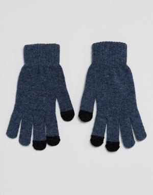 Синие перчатки для сенсорных гаджетов из трикотажа с добавлением овечь ASOS. Цвет: синий