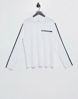 Белая рубашка с длинными рукавами и принтом полосок -Белый Armani Exchange