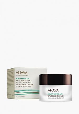 Крем для лица Ahava , шеи и зоны декольте подтяжки кожи. Ночной. 50 мл. Цвет: прозрачный