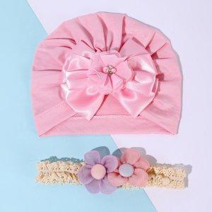 Детский с бантом Шапка & Ободок для волос SHEIN. Цвет: розовые