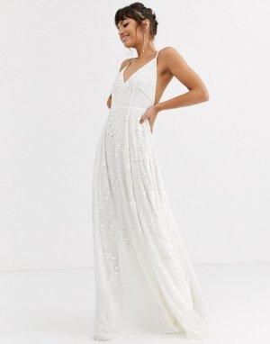 Свадебное платье на бретельках с пайетками и бисером -Белый ASOS EDITION
