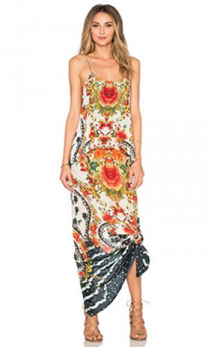 Платье с ярусами сзади внизу Camilla. Цвет: кремовый