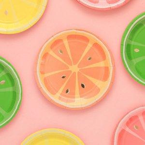 Одноразовая тарелка с фруктами 8шт SHEIN. Цвет: многоцветный