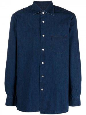 Джинсовая рубашка на пуговицах Kiton. Цвет: синий