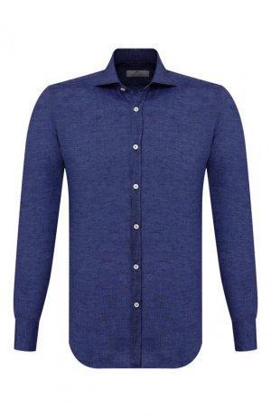 Льняная рубашка Canali. Цвет: синий