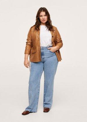 Кожаная куртка с поясом - Isabel1 Mango. Цвет: коричневый средний