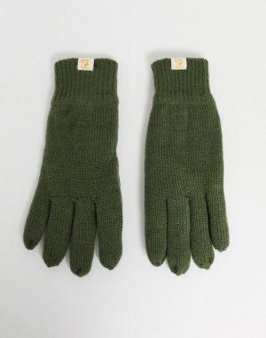 Перчатки оливкового цвета на подкладке -Зеленый Farah