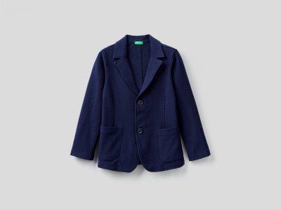 Пиджак из 100% хлопка Benetton. Цвет: синий