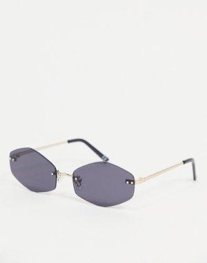 Овальные солнцезащитные очки без оправы с дымчатыми стеклами и золотистыми дужками -Черный цвет ASOS DESIGN