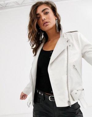 Кожаная куртка кремового цвета -Белый Object