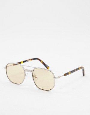 Круглые солнцезащитные очки унисекс в серебристой оправе со светло-коричневыми линзами Nailsea-Серебристый Spitfire